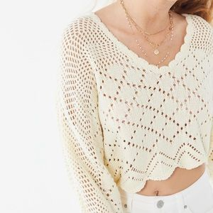 UO Petra Pointelle Dolman Cropped Sweater